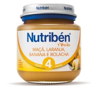Nutribén Primeiro Boião Maçã, Laranja, Banana, Bolacha 130 gramas